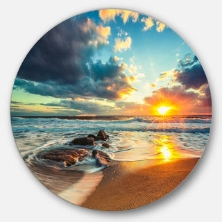 Designart 'Beautiful Cloudscape over the Sea' Modern Beach Circle Wall Art