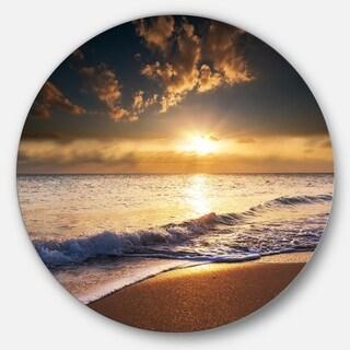 Designart 'Sunset over Foaming Waves' Modern Beach Disc Metal Wall Art
