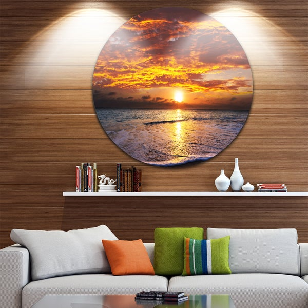 Designart 'Yellow Sunset above Foaming Waves' Modern Beach Large Disc Metal Wall art