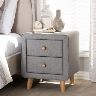 Mid-Century Fabric 2-Drawer Nightstand by Baxton Studio