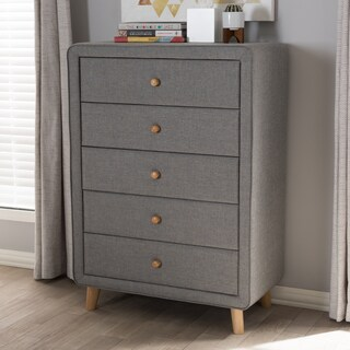 Mid-Century Fabric 5-Drawer Chest by Baxton Studio