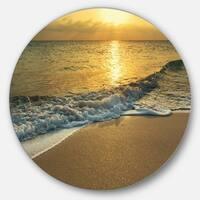 Designart 'White Waves under Yellow Sunset' Modern Beach Large Disc Metal Wall art