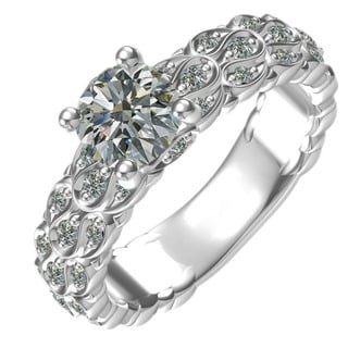 Sterling Silver 1-carat Center and 26, 0.25-carat Side Cubic Zirconia Engagement Ring