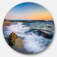 Designart 'White Waves Crashing on Rocks' Seashore Disc Metal Artwork