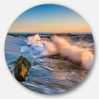 Designart 'Crashing Waves at Victoria Beach' Seashore Circle Wall Art