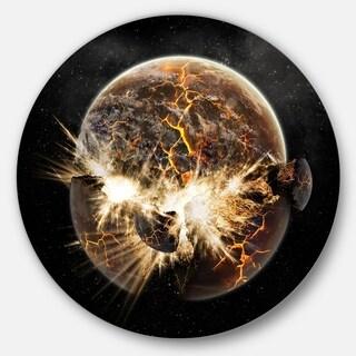 Designart 'Earth Apocalypse' Abstract Art Round Metal Wall Art
