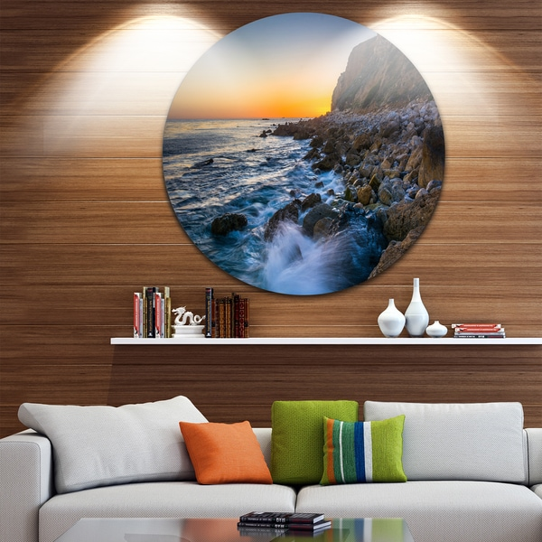 Designart 'Crashing Waves at Pelican Cove' Seashore Round Metal Wall Art