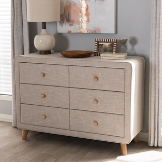 Mid-Century Fabric 6-Drawer Dresser by Baxton Studio (Option: Beige)