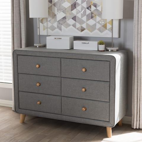 Mid-Century Fabric 6-Drawer Dresser by Baxton Studio