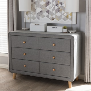 Mid-Century Fabric 6-Drawer Dresser by Baxton Studio