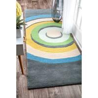 nuLOOM Handmade by Thomas Paul Modern Wool Circular Swirl Blue Runner Rug - 2'8 x 8'