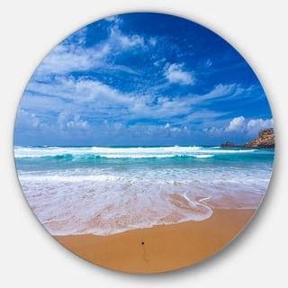 Designart 'Serene Atlantic Seashore Portugal' Seashore Disc Metal Wall Art