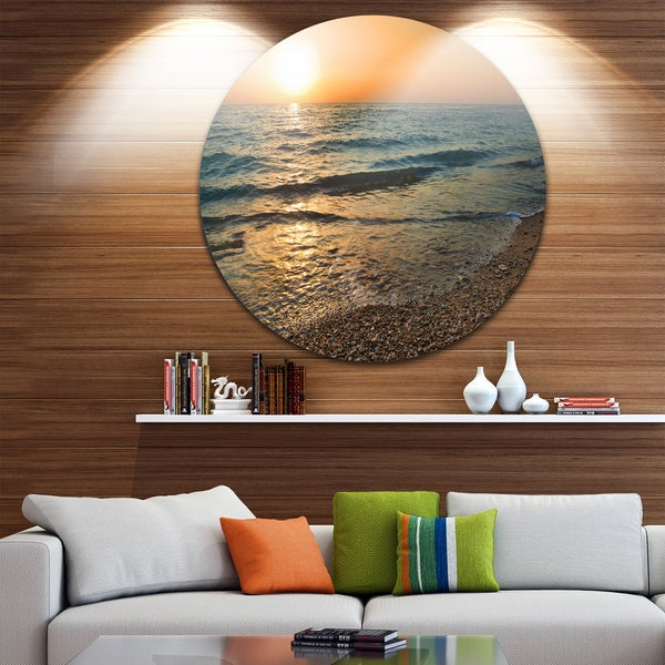 Designart 'Gloomy Atlantic Beach Portugal' Seashore Disc Metal Artwork
