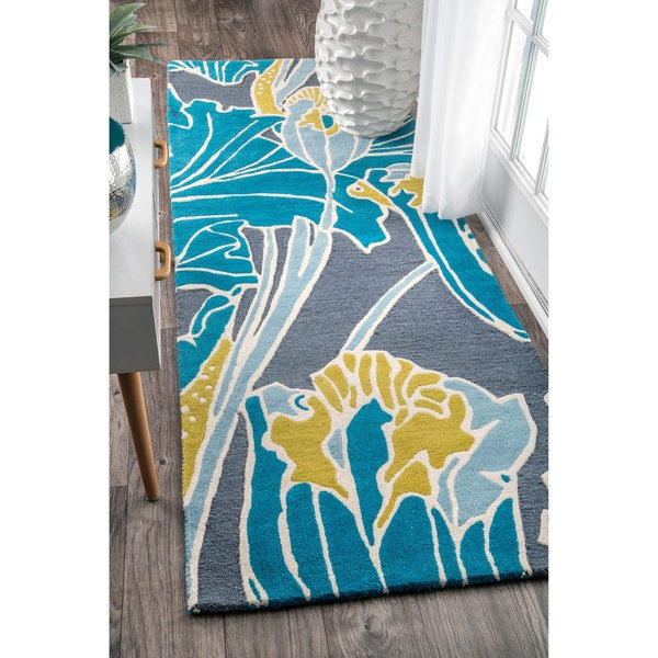 Shop NuLOOM Handmade By Thomas Paul Floral Aqua Runner Rug