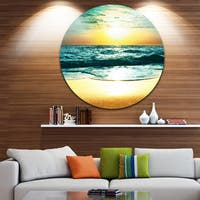Designart 'Amazing Sunset Reflecting in Blue Sea' Seashore Large Disc Metal Wall art