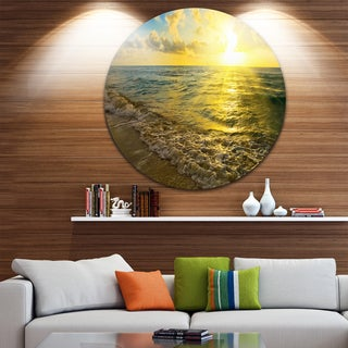 Designart 'Colorful Sunset Reflecting in Waters' Seashore Round Wall Art