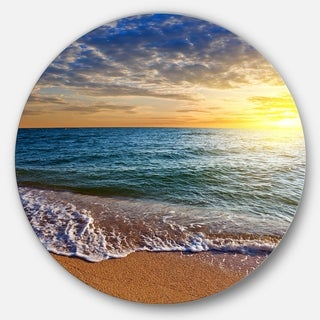 Designart 'Layers of Colors on Sunrise Beach' Seashore Disc Metal Wall Art