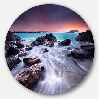 Link to Designart 'Fascinating View of Rocky Coast' Seashore Round Metal Wall Art Similar Items in Metal Art