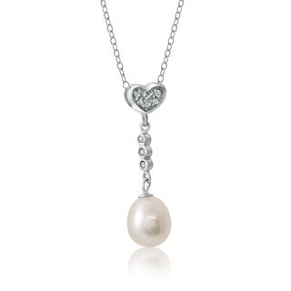 Pearlyta Sterling Silver Cubic Zirconia Heart Drop Pearl Pendant (8 - 8.5mm)
