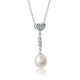 Pearlyta Sterling Silver Cubic Zirconia Heart Drop Pearl Pendant 8-8.5mm