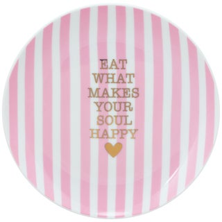 10 Strawberry Street Coral Happy Soul The Goodies App Plate (Set of 4)