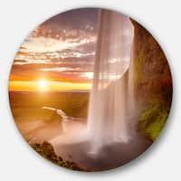 Designart 'Seljalandsfoss Waterfall at Sunset' Landscape Photo Circle Wall Art