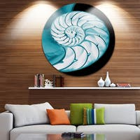 Designart 'Chambered Nautilus Shell' Abstract Art Large Disc Metal Wall art