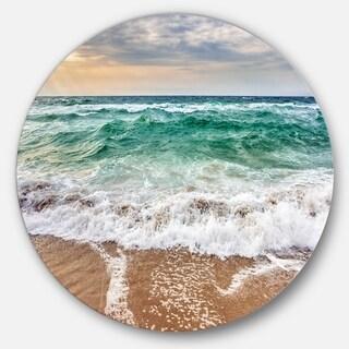 Designart 'Crystal Clear Blue Foaming Waves' Seashore Large Disc Metal Wall art