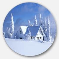 Designart 'Orlicke Hory Cottage in Winter' Landscape Photo Disc Metal Artwork
