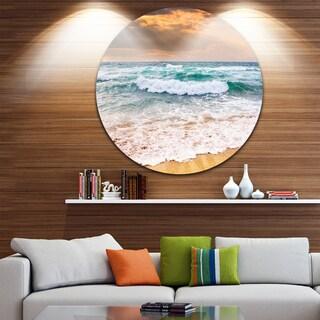 Designart 'Blue Sea Waves Kissing Sandy Beach' Seashore Round Metal Wall Art