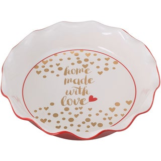 10 Strawberry Street Ceramic Homemade with Love Pie Dish