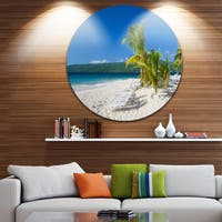 Designart 'Beach Coconut Palms in Wind' Seashore Photo Disc Metal Artwork