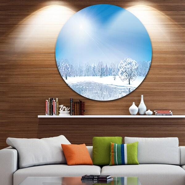 Designart 'Glowing Winter Sun' Landscape Photography Circle Wall Art