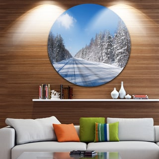 Designart 'Winter Road' Landscape Photography Large Disc Metal Wall art