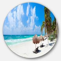Designart 'Bright Caribbean Beach' Seashore Landscape Disc Metal Artwork