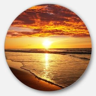 Designart 'Vibrant Yellow Sun and Calm Waves' Seashore Large Disc Metal Wall art