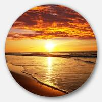 Designart 'Vibrant Yellow Sun and Calm Waves' Seashore Large Disc Metal Wall art