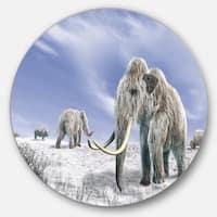 Designart 'Mammoth Elephants in Field' Landscape Photo Disc Metal Wall Art