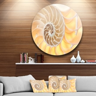 Designart 'Golden Nautilus Shell Pattern' Abstract Art Round Metal Wall Art