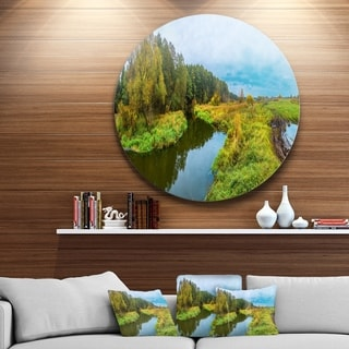 Designart 'Green Park by the Lake' Landscape Photography Disc Metal Wall Art
