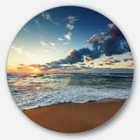 Designart 'Sunrise and Glowing Waves in Ocean' Seashore Circle Metal Artwork