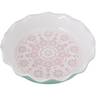 10 Strawberry Street Ceramic Pie Pan with Ridged Edge