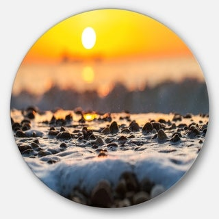 Designart 'Sunrise Giving Color for Sea Waters' Seashore Round Metal Wall Art