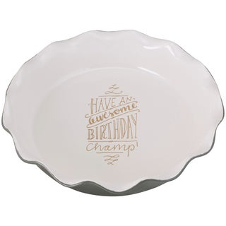 Birthday Champion Pie Pan with Ridged Edge.