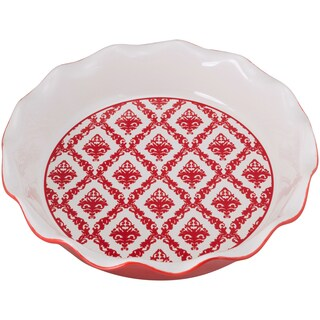 10 Strawberry Street Red Damask Ceramic Pie Pan