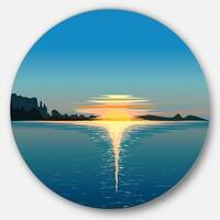 Designart 'Sea Sinking Sun' Seascape Art Disc Metal Artwork