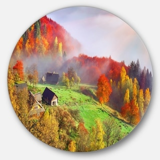 Designart 'Colorful Mountain Village' Landscape Photo Circle Wall Art