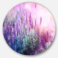 Designart 'Growing and Blooming Lavender' Floral Photo Circle Metal Artwork
