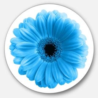 Designart 'Isolated Blue Flower' Floral Art Round Metal Wall Art