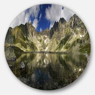 Designart 'Mountain Lake with Reflection' Landscape Photo Disc Metal Artwork